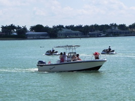 Motor boat in the waters around Marco Island, Florida